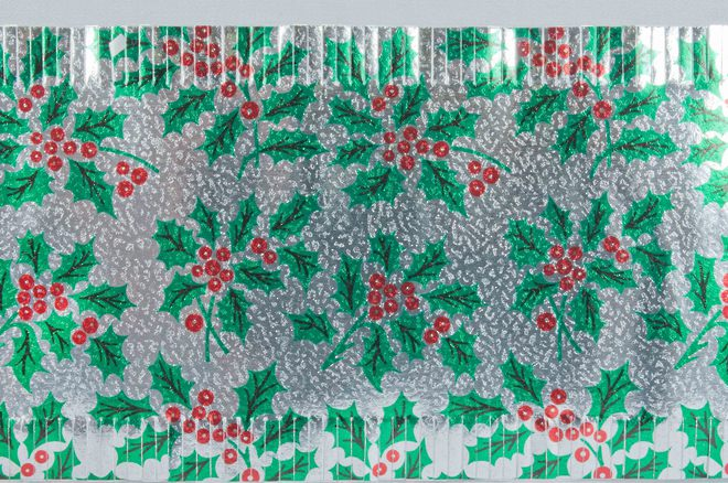 Christmas Cake Foil Frill, Silver/Green Holly (7.33 Metre Roll, 83mm width) image 0