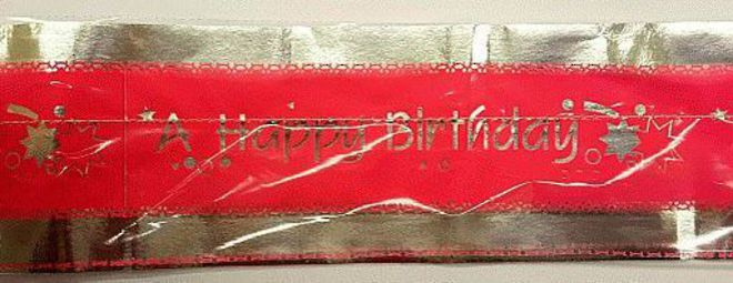 Cake Band Happy Birthday Pink/Silver 63mm (7m) - SOLD OUT image 0
