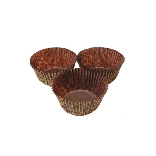 Texas Muffin Paper Cases High Tea Brown/Gold 66x42mm (500) image 0