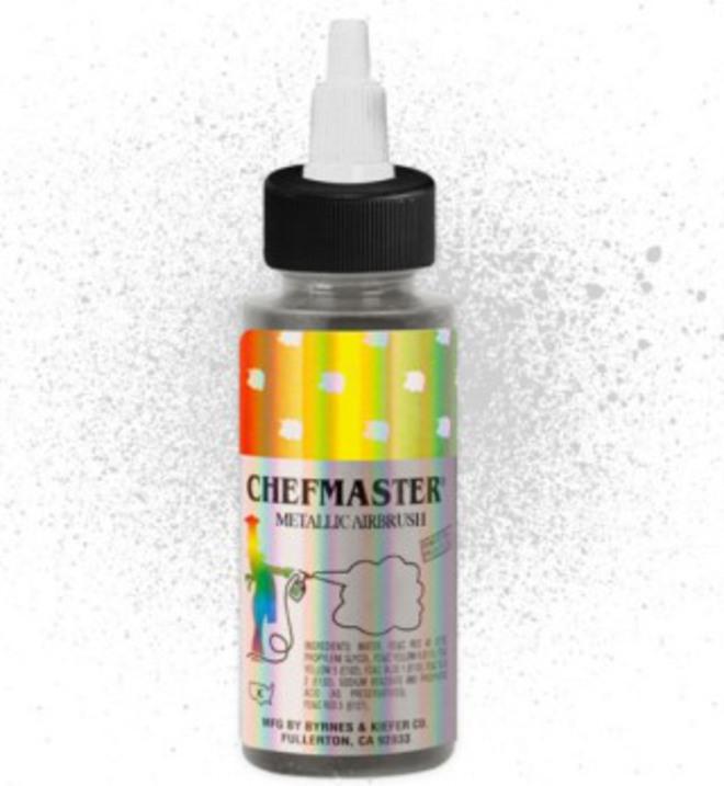 Chefmaster Airbrush Metallic Silver 2oz image 0