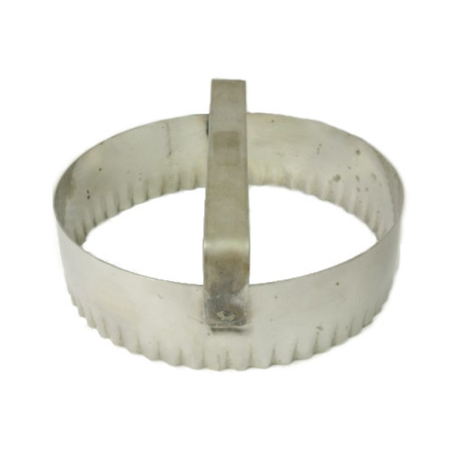 """Fluted round dough cutter 228mm or 9"""" S/Steel with handle image 0"""