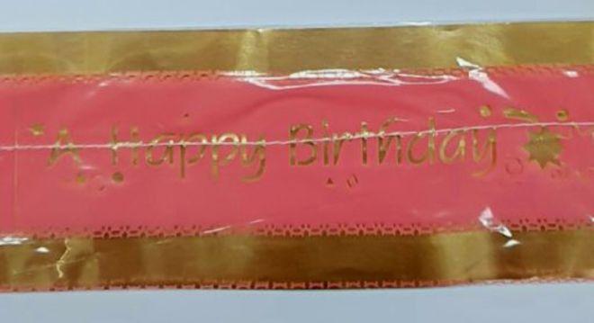 Cake Band Happy Birthday Pink/Gold 63mm (1m) image 0