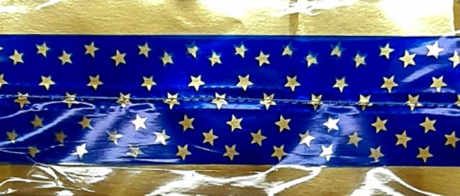 Cake Band Star Royal Blue/Gold 63mm (7m) image 0