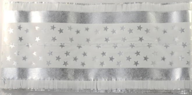 Star Pattern Band 7m x 76mm wide Silver on White image 0