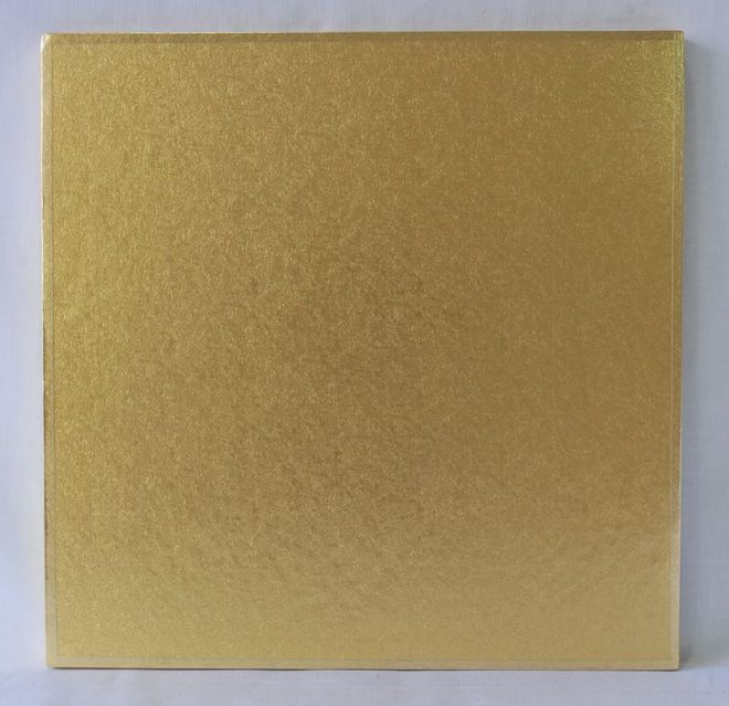 "Polystyrene Cake Board, Square, Gold Covered, 8"" (200mm) image 0"