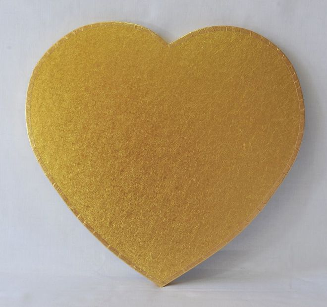 """Polystyrene Cake Board, Heart, Gold Covered, 18"""" (450mm) image 0"""