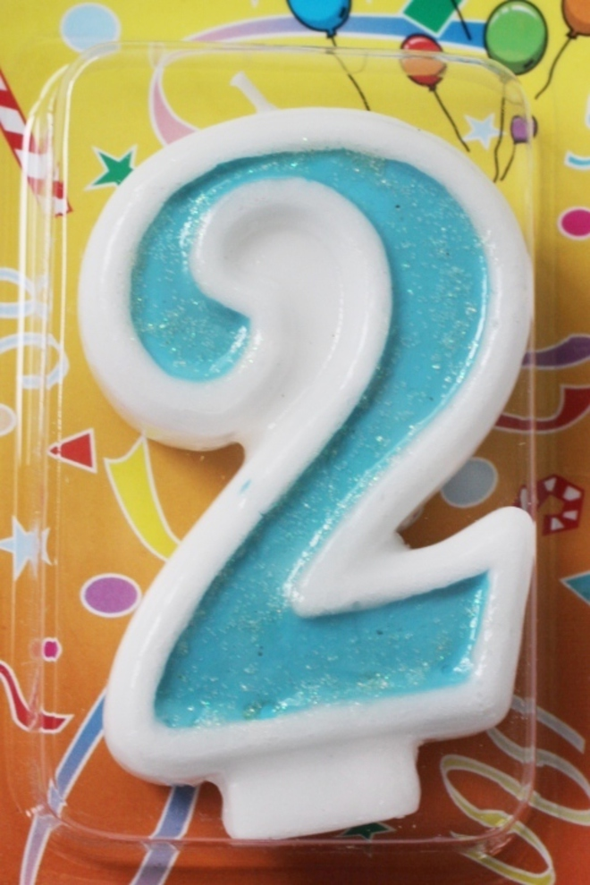 Candle Glitter Blue Number #2 (80mm) image 0