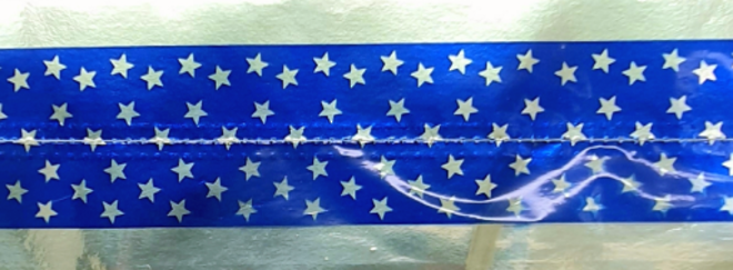 Cake Band Star Royal Blue/Silver 63mm (7m) image 0