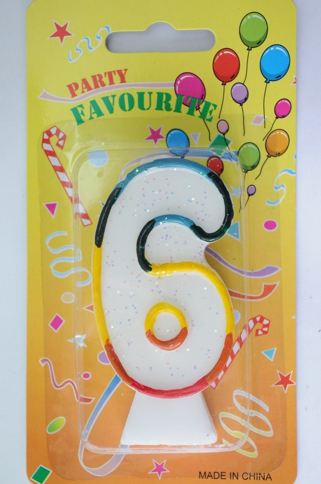 Candle White Multi Colour Edge Number #6 (80mm) image 0