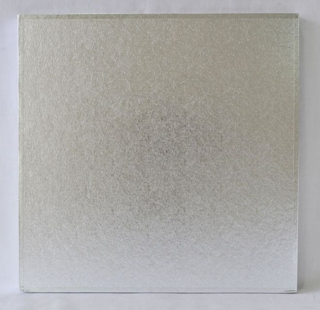 "Polystyrene Cake Board, Square, Silver Covered, 14"" (350mm) image 0"
