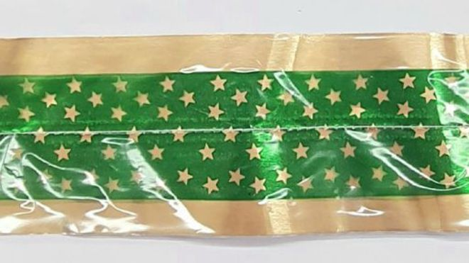 Cake Band Star Green/Gold  63mm (1m) image 0