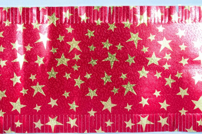 Christmas Cake Foil Frill, Gold Star on Red (7.33 Metre Roll, 83mm width) image 0