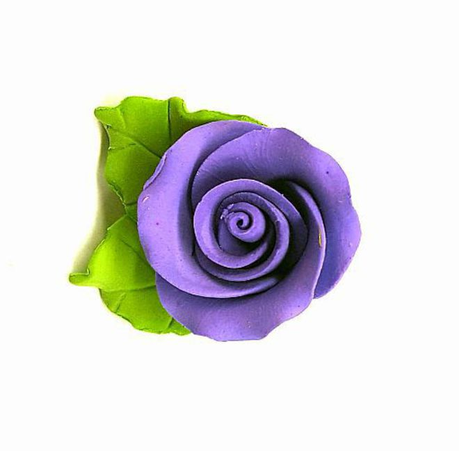 Icing Purple Roses With Leaves 40mm. Box of 144 image 0