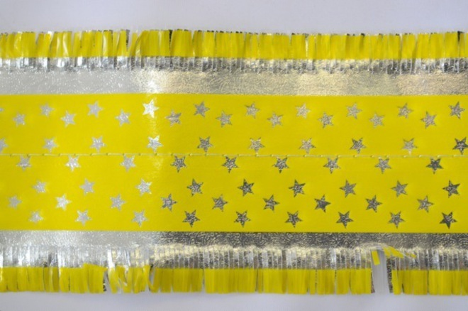 Star Pattern Frill 7m x 76mm wide Silver on Yellow image 0