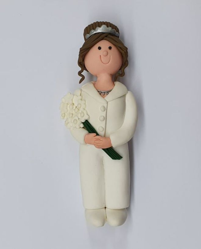 Claydough Bride Brunette Hair with Pants, 120mm image 0