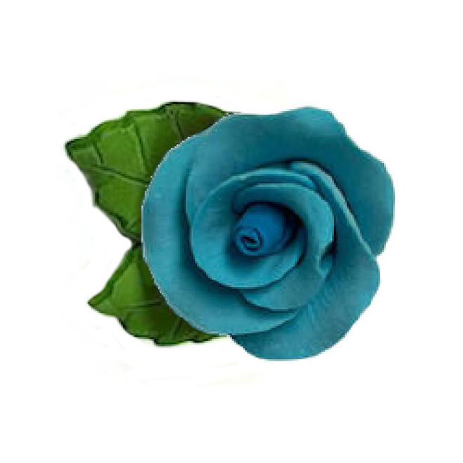 Icing Blue Roses With Leaves 40mm.  Box of 144 image 0