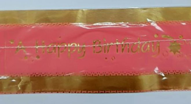 Cake Band Happy Birthday Pink/Gold 63mm (7m) image 0