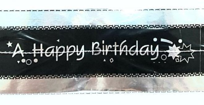 Cake Band Happy Birthday Black/Silver 63mm (1m) image 0