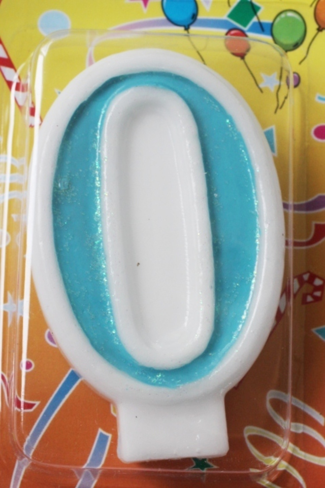 Candle Glitter Blue Number #0 (80mm) image 0