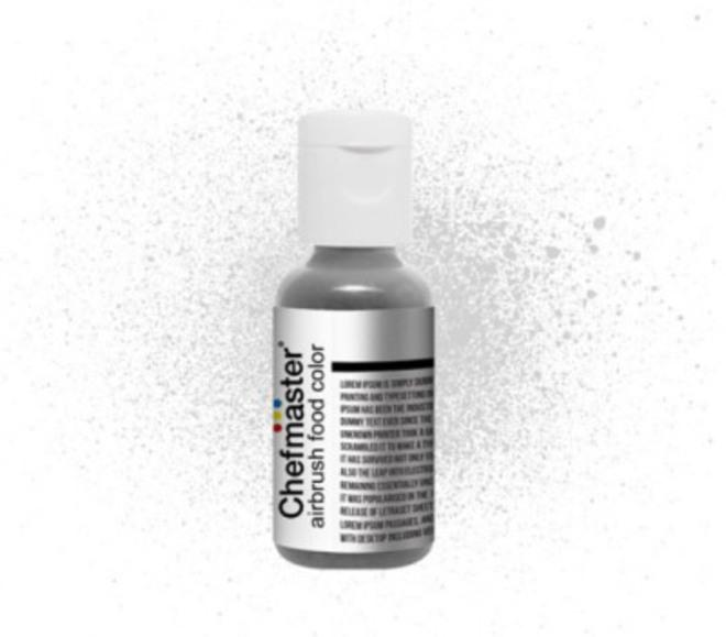 Chefmaster Airbrush Liquid Metallic Silver .67oz Bottle image 0
