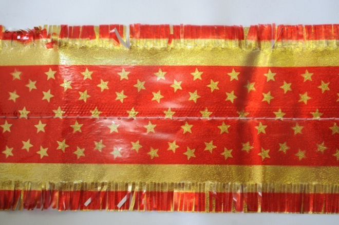 Star Pattern Band 7m x 76mm wide  Gold on Red image 0