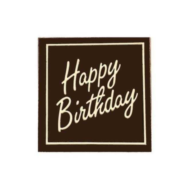 "Chocolate Dark - ""Happy Birthday"" Square 50mm (30PK) image 0"