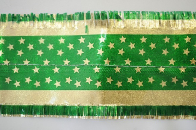 Star Pattern Band 7m x 76mm wide  Gold on Green image 0