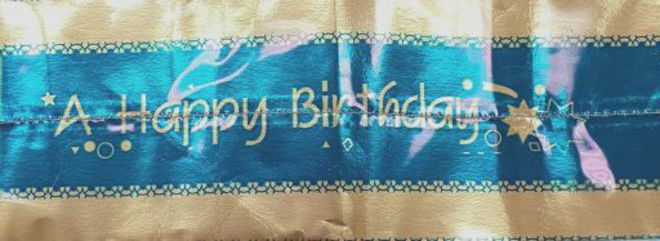 Cake Band Happy Birthday  Blue/Gold 63mm (7m) image 0