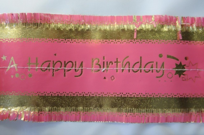 Happy Birthday Band 7m x 76mm wide  Gold on Pink image 0