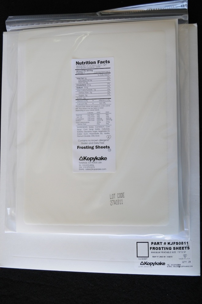 Kopykake Small Frosting Sheets(Pkt of 24) 190x255mm (approx A4) image 0