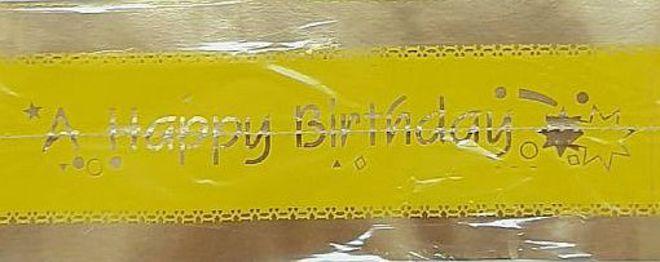 Cake Band Happy Birthday Yellow/Gold 63mm (1m) image 0