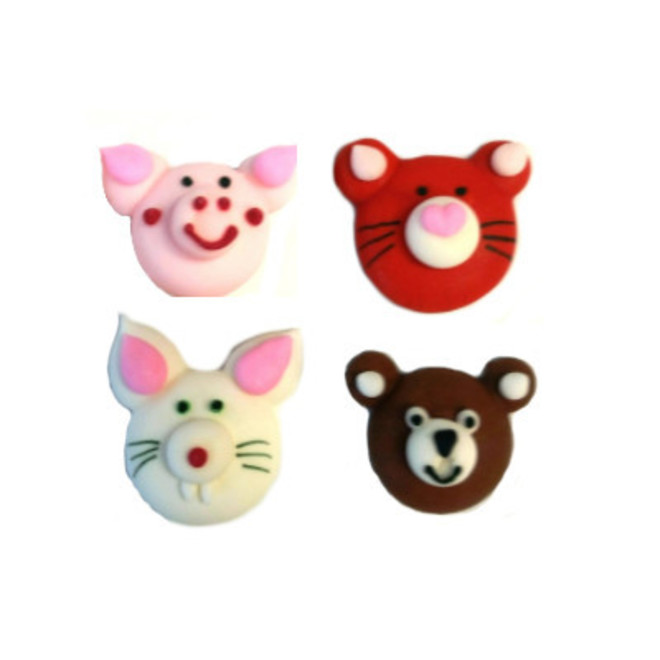 Animal Faces (Assorted) 2D Icing.  Retail Box of 8, 20mm image 0