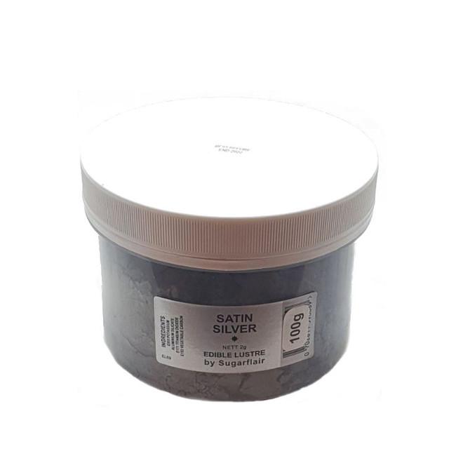 Sugarflair Edible Lustre Colour Satin Silver 100g image 0