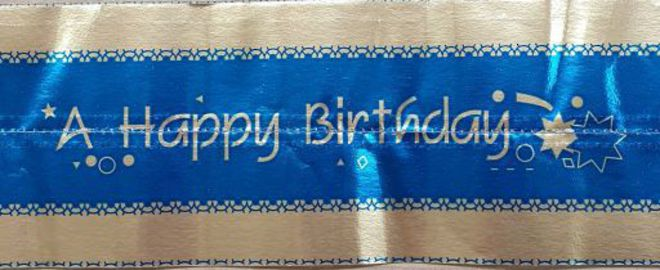 Cake Band Happy Birthday Blue/Silver 63mm (7m) image 0