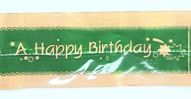 Cake Band Happy Birthday Green/Gold 63mm (1m) image 0