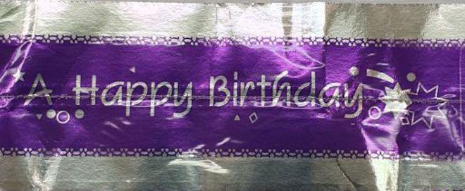 Cake Band Happy Birthday Purple/Silver 63mm (1m) image 0