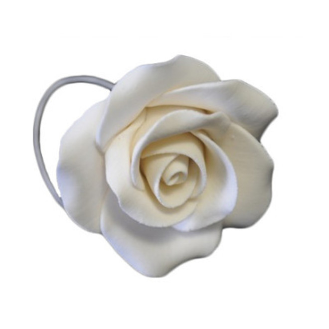 Icing White Single Rose, 50mm.  Box of 28 (wired) - SOLD OUT image 0