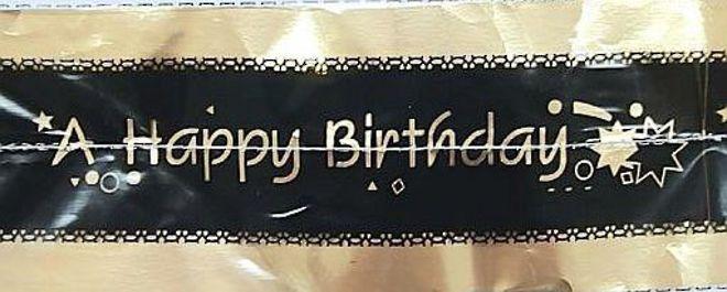 Cake Band Happy Birthday Black/Gold 63mm (1m) image 0