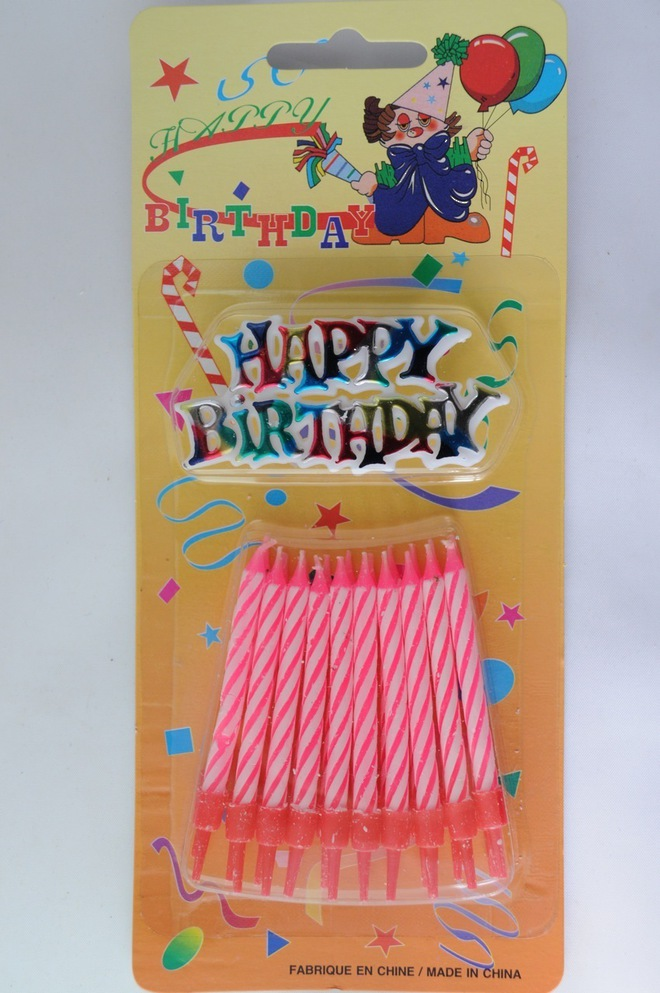 Candle & Holder Candy Striped Pink  (20) with 1 x Happy Birthday Motto image 0