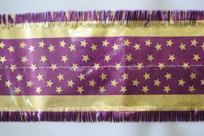 Star Pattern Band 7m x 76mm wide  Gold on Purple image 0