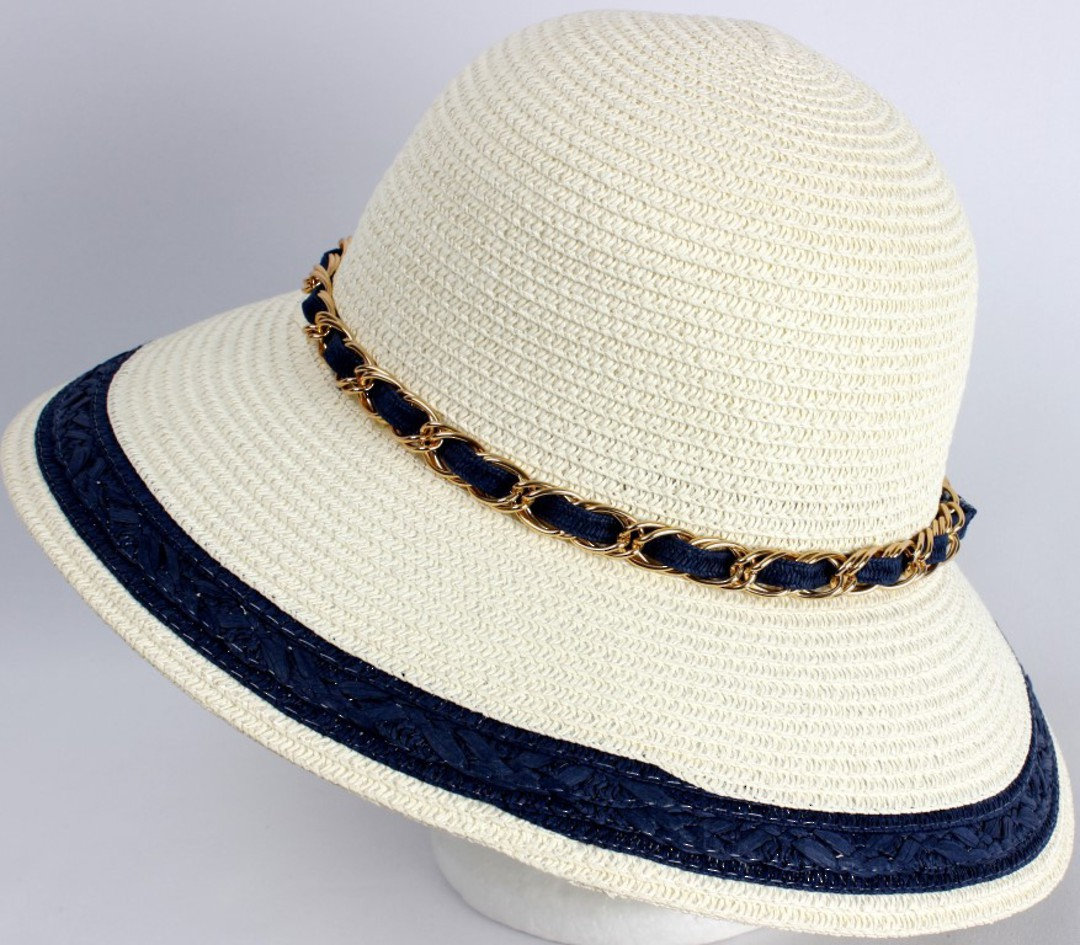 HEAD START Dome hat ivory w gold chain and navy trim Style: HS/4482/NAVY image 0