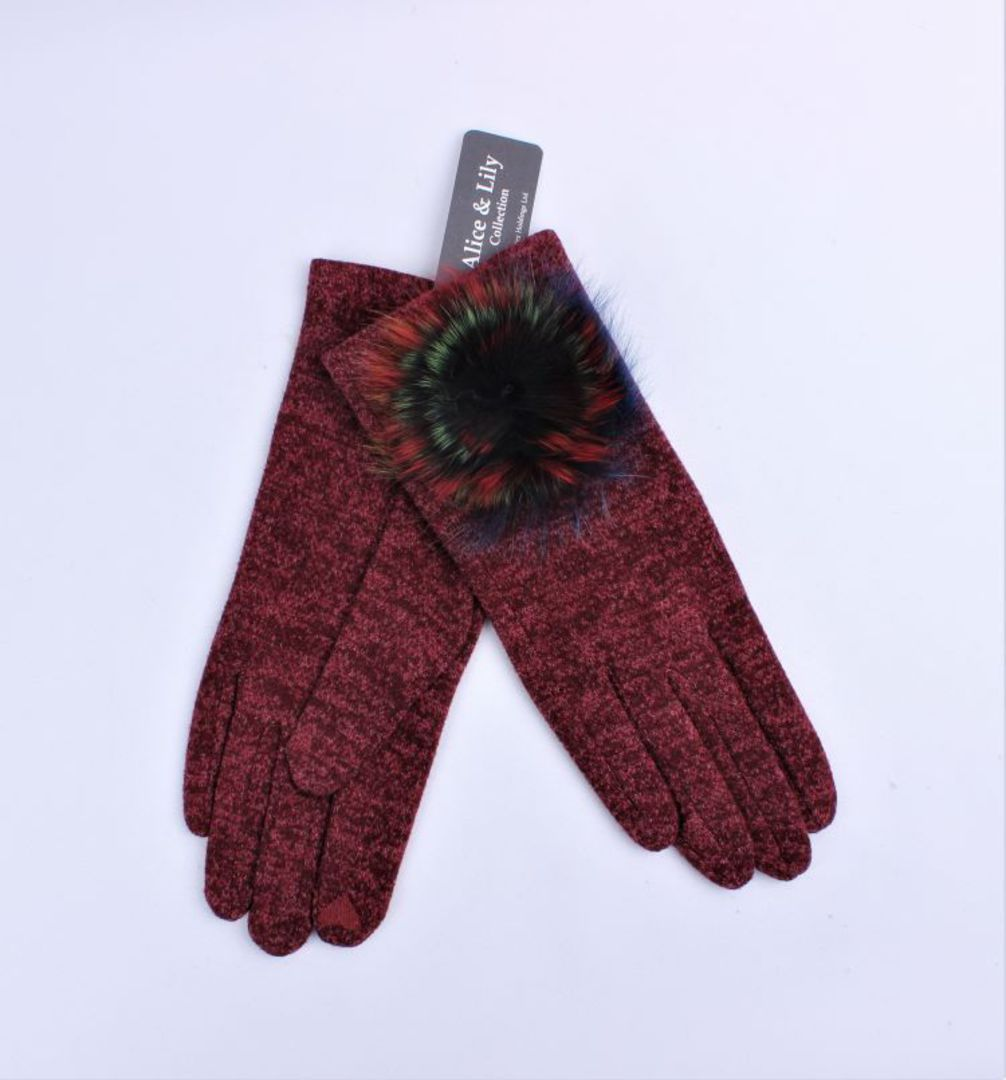 Winter ladies textured glove w fur rosette trim red Style; S/LK4617/RED image 0