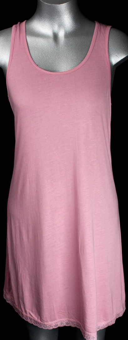 Bamboo cotton razor back lace insert nightie blk,grey,pink,blue,cream Style: AL/BAM/6 (front view) image 0