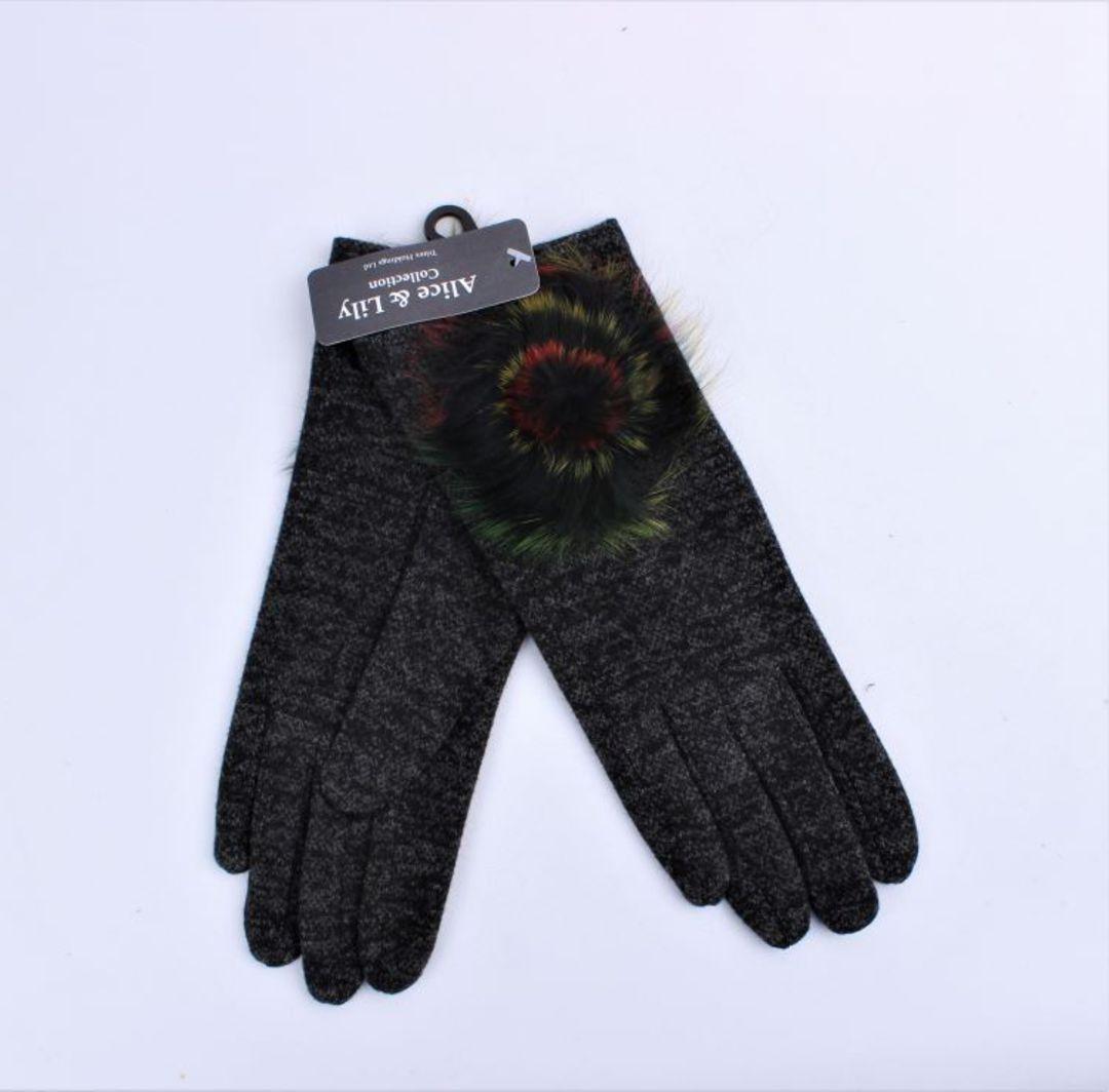 Winter ladies textured glove w fur rosette trim black Style; S/LK4617/BLK image 0