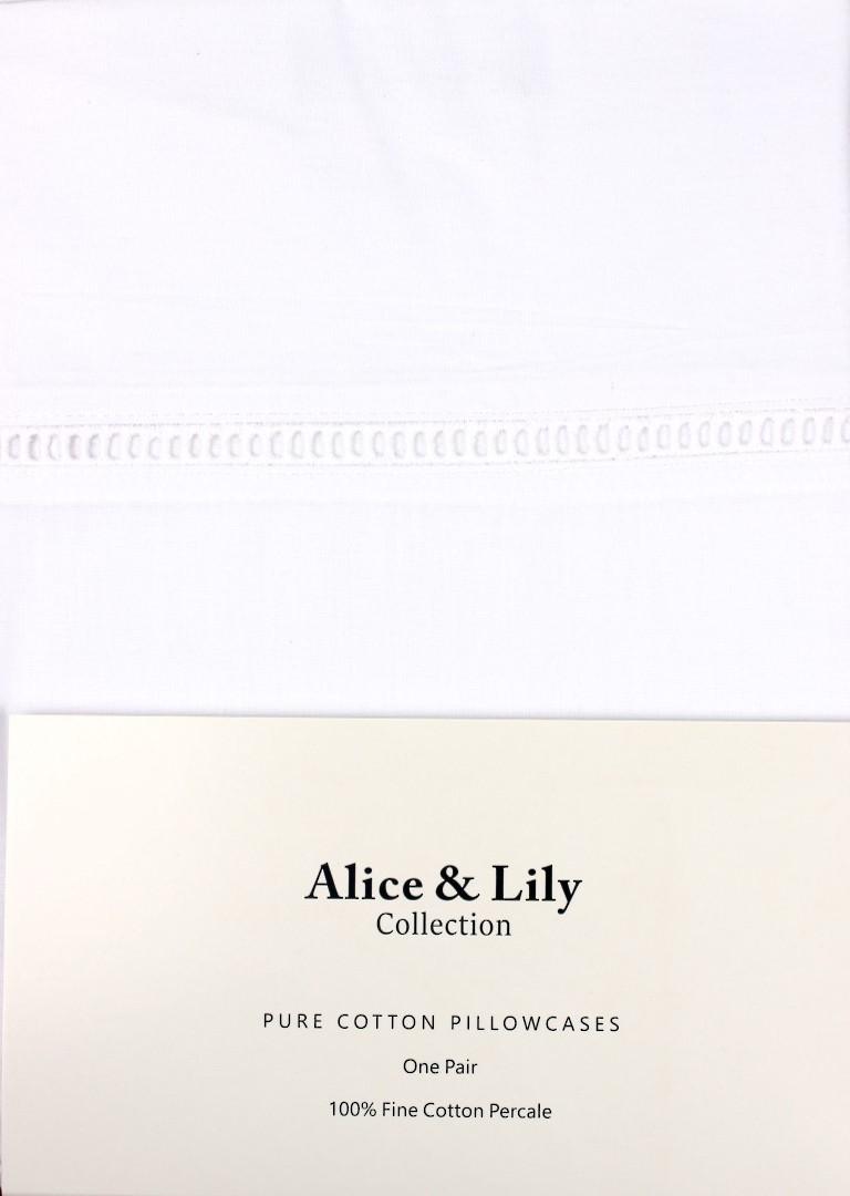 Alice & Lily pure cotton pillowcases one pair Code: EPC-HEM/WHT image 0