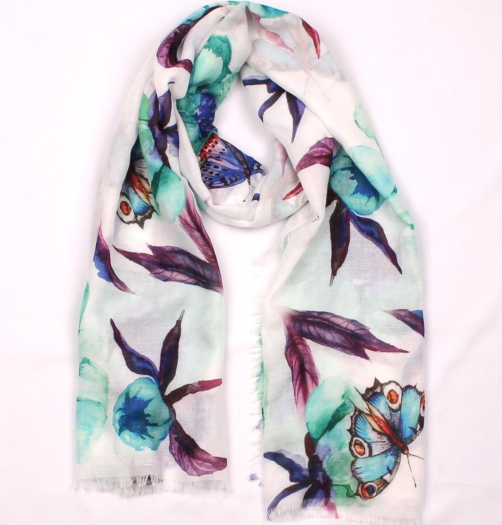 Alice & Lily printed  scarf green butterfly Style:SC/4655 image 0