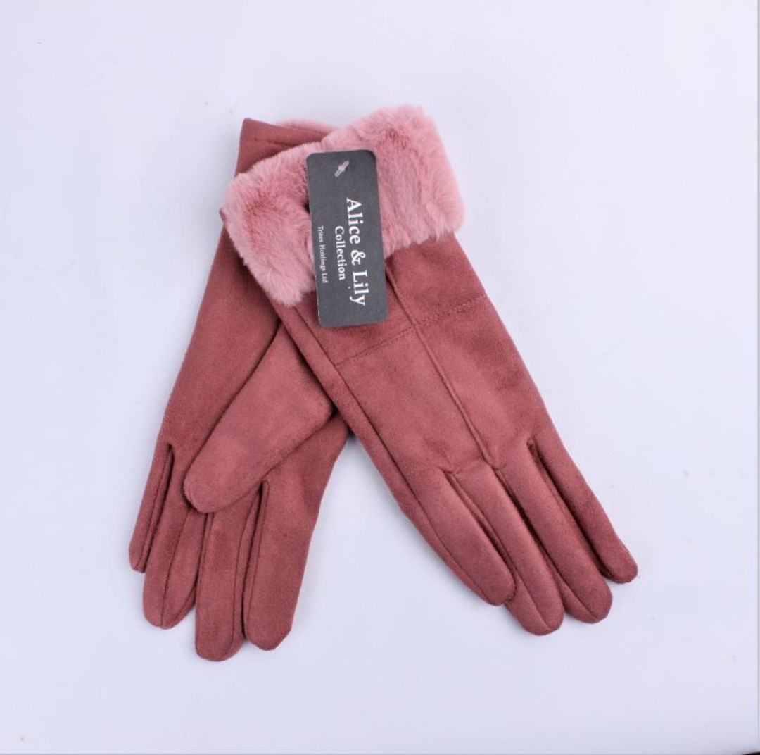 Winter ladies thermal lined glove w faux fur cuff pink  Style; S/LK4770PNK image 0