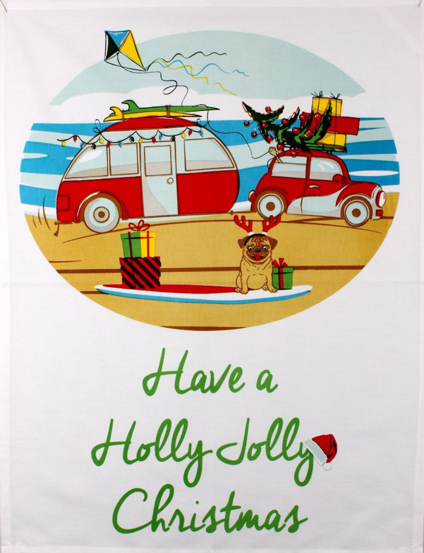 Tea towel Christmas 'Have a holly jolly Christmas' Code: TT-CH/JOL image 0