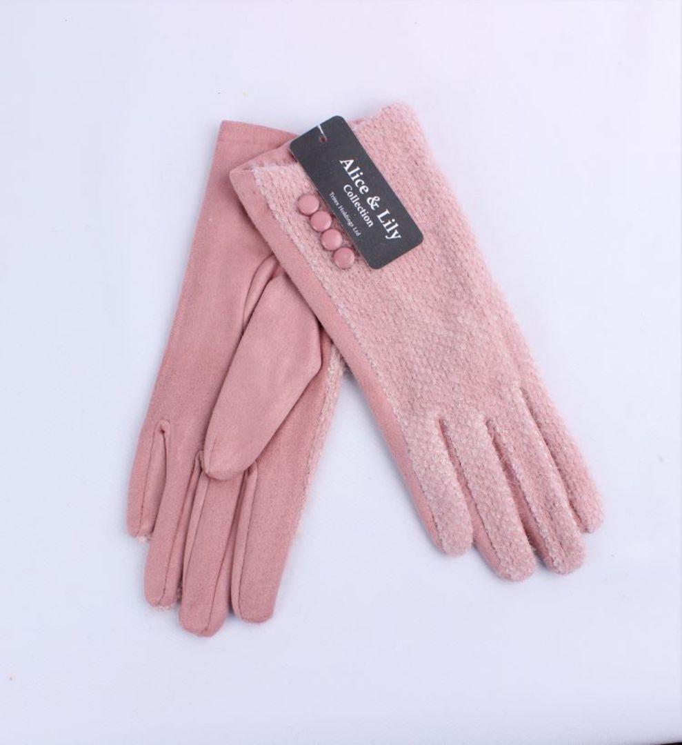 Winter ladies textured glove w button  trim pink Style; S/LK4765/PNK image 0