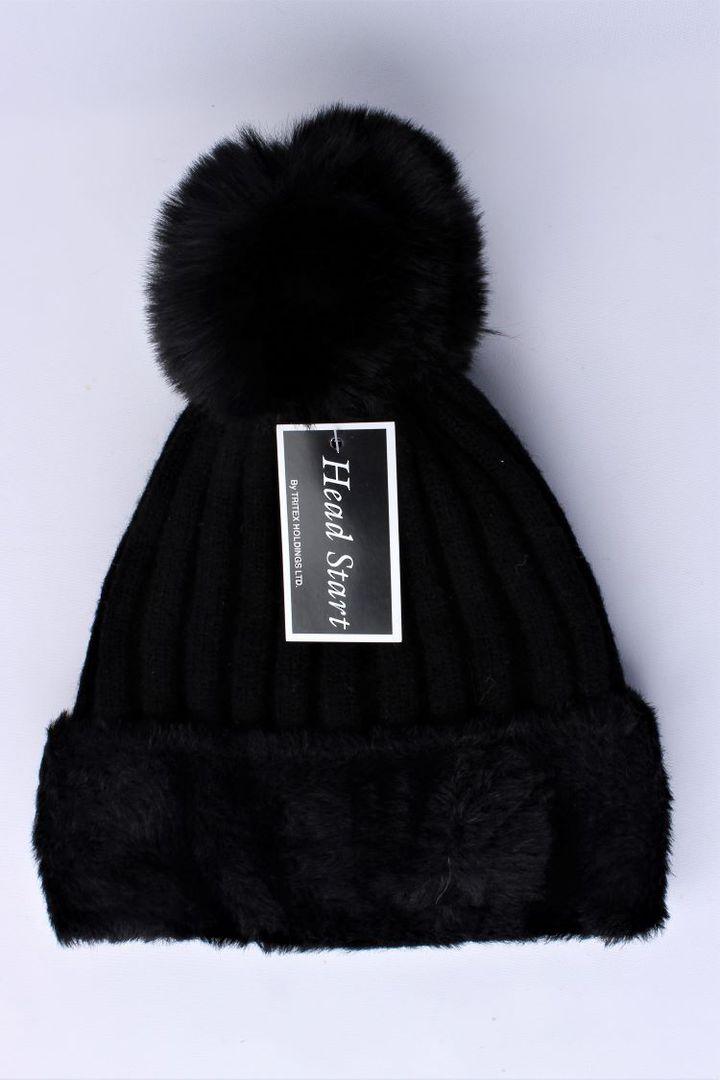 Headstart  wool viscose fleece lined beanie black  Style : HS/4750BLK image 0